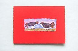 Kartka czerwona -dwa ptaszki