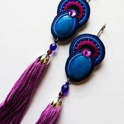 Niebiesko-fioletowe kolczyki z chwostami