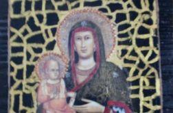 Ikona Matki Bożej z dzieciątkiem - na starej desce