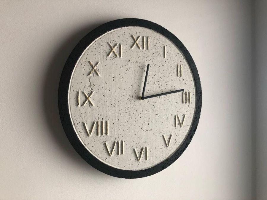 Zegar Betonowy Roman Biały Czarny Złoto - Zegar Roman Metallic Biały-Czarny-Złoto #2