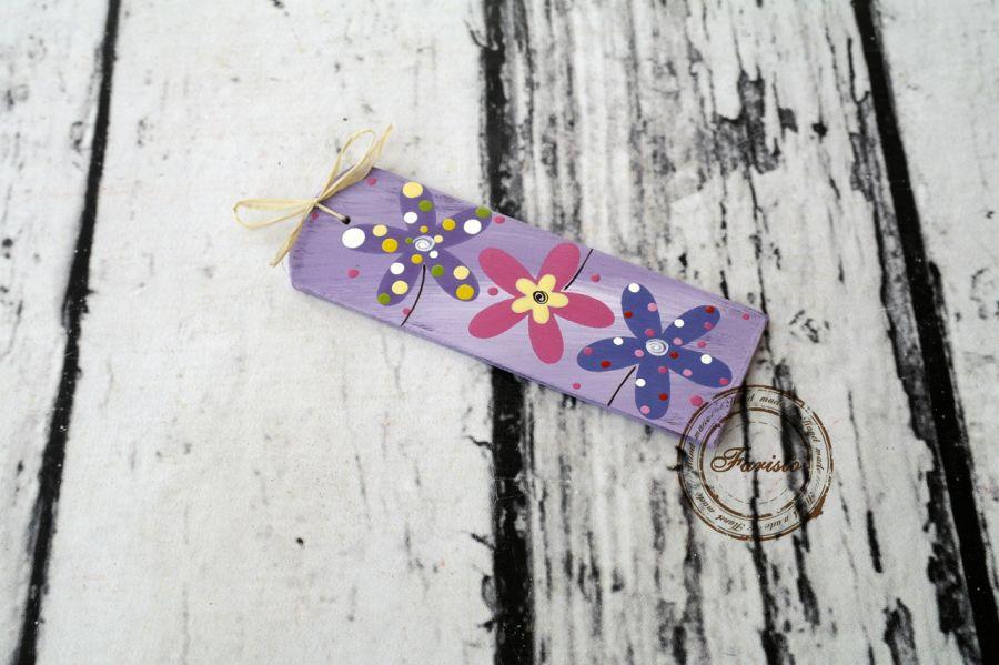 zakładka fioletowa z kwiatkami