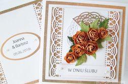 Kartka W DNIU ŚLUBU z brązowymi różami #1