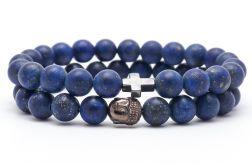 Zestaw 2 bransoletek męskich lapis lazuli
