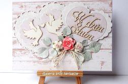 Kartka ślubna różowa 3617