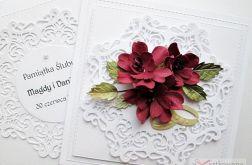 Kartka ŚLUBNA z bordowymi kwiatami