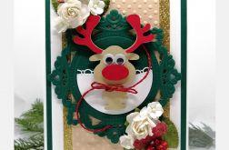 Kartka święta zielono złota renifer BNR 005