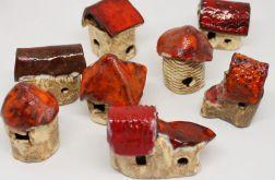 Mini domek z ceramiki ozdoba las w szkle
