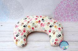 ROGAL do karmienia poduszka fasolka zagłówek - bawełna i Minky - kolorowe łapki rączki