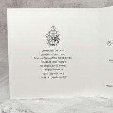 Zaproszenie na komunię dla dziewczynki i chłopca ze wstążką delikatne skromne ZKS 004