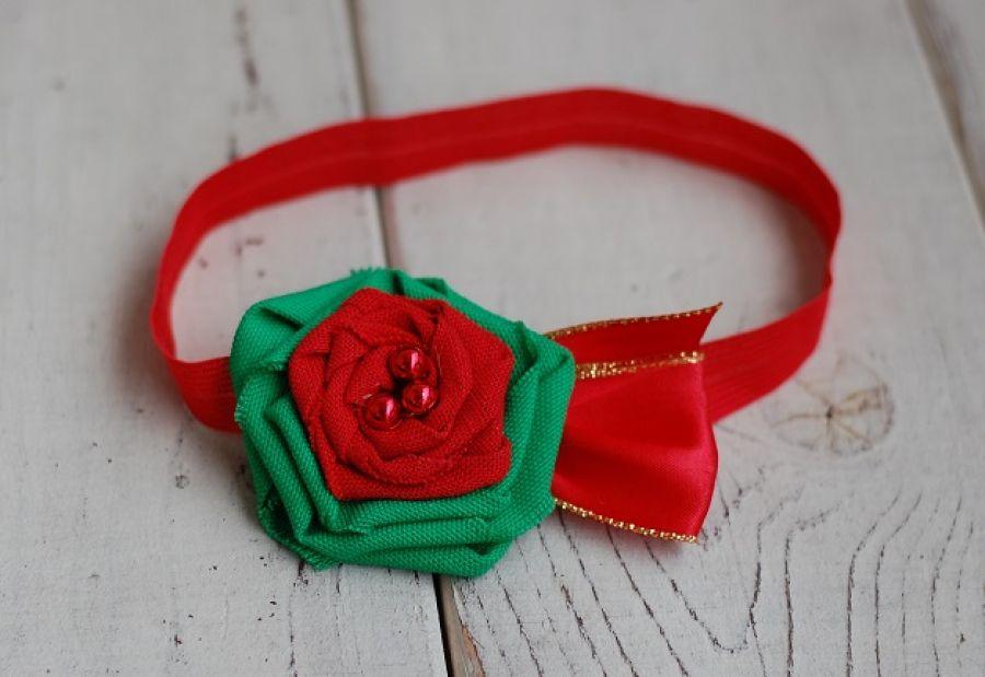 Opaska niemowlęca - Świąteczny kwiat - opaska świąteczna