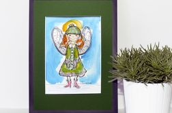Zimowy aniołek akwarela, obrazek malowany