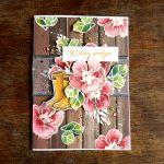 W dniu urodzin - kartka z kwiatami - Z góry