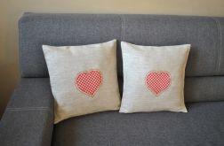2 lniane poszewki - rustykalne serca