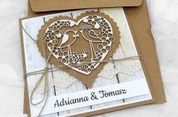 Kartka na ślub eko z ptaszkami