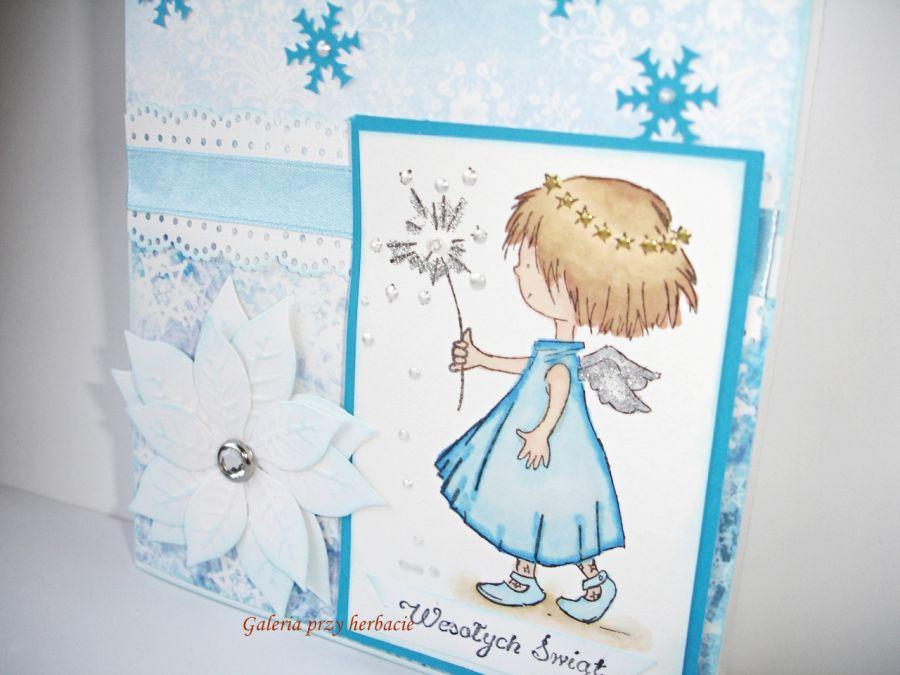 Kartka świąteczna z aniołkiem   Galeria przy herbacie