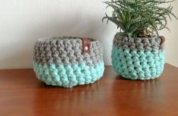 Koszyk ze sznurka bawełnianego mięta-szary L