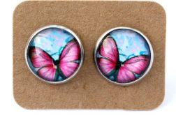Kolczyki motyle różowo-niebieskie