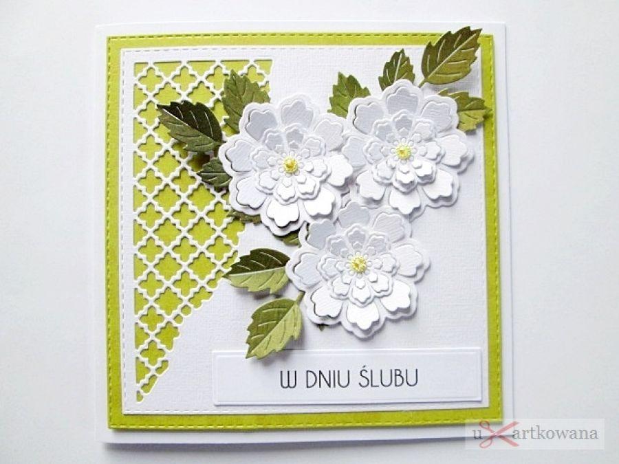 Kartka W DNIU ŚLUBU limonkowo-biała