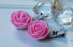 spinki handmade 2 szt. kwiatki róż + szary