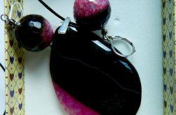 Czarny agat z różowym kryształem, zestaw
