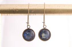 Długie kolczyki z malowanym szkłem, niebieske