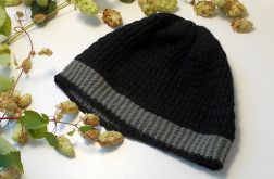 Zimowa wełniana czapka czarna z alpaką