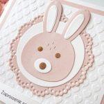 Zaproszenia na chrzest, roczek - królik - roczek, urodziny, tłoczone, królik
