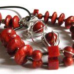 Komplet biżuterii z koralem, 3 części