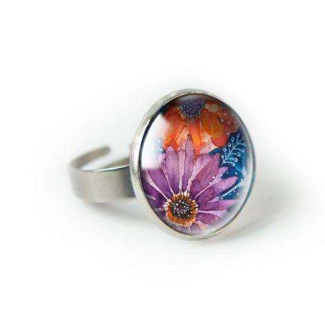 Autumn flowers pierścionek z ilustracją