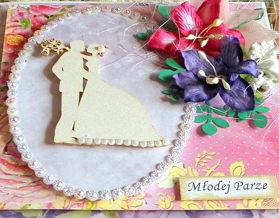 Kartka ślubna - liliowa -
