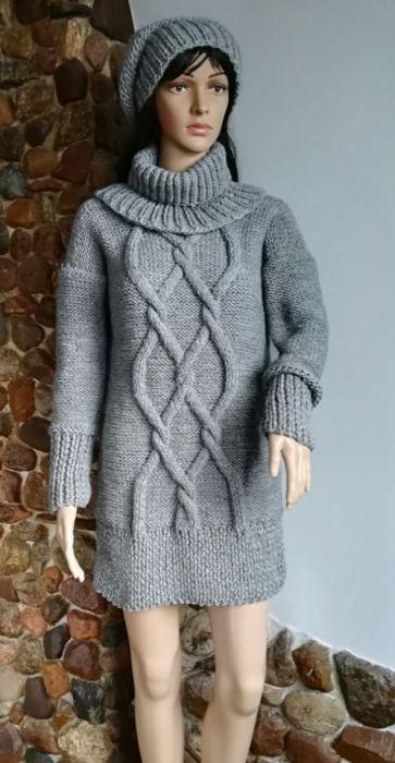 Długi szary sweter - szary sweter kopmplet