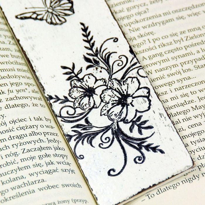 drewniana zakładka do książki- schabby chic