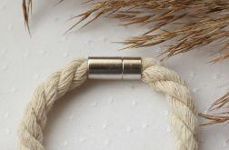 Bransoletka ze skręcanego, kremowego sznurka