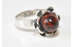 19 pierścionek vintage, naturalny bursztyn