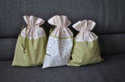 Trzy woreczki podróżne na bieliznę - oliwkowe