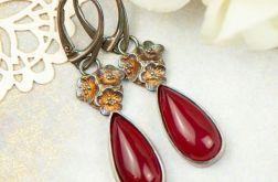 Kolczyki srebrne z czerwonym kamieniem a852