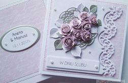 Kartka W DNIU ŚLUBU różowo-srebrna