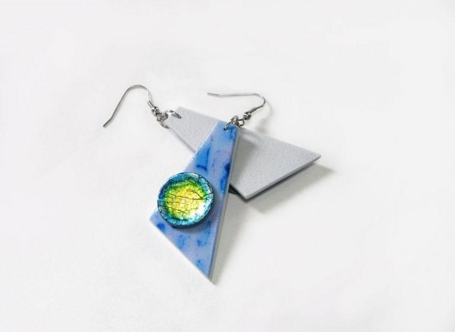 Błękitno-zielone asymetryczne kolczyki