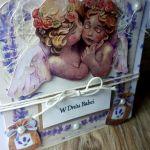 Dzień Babci #5 kartka lawenda aniołki  - 2