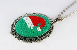 Wisiorek czapka mikołaja haft krzyżykowy
