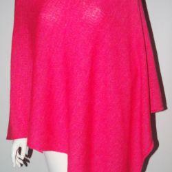 Klasyczne gładkie ponczo róż neon