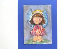 Aniołek  obrazek ręcznie malowany