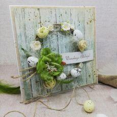 Kartka wielkanocna z wiankiem (zieleń)