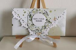 Kartka ślubna kopertowa kopertówka floral XVI personalizowana