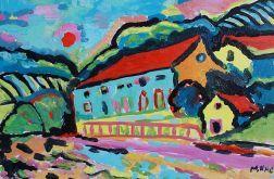 obraz olejny miasto do salonu malarstwo współczesne