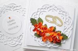 Kartka ŚLUBNA biało-pomarańczowa