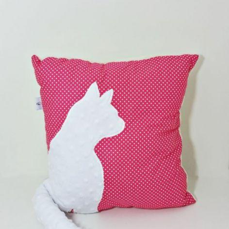 Poduszka z kotem i ogonem 3D biały kot róż