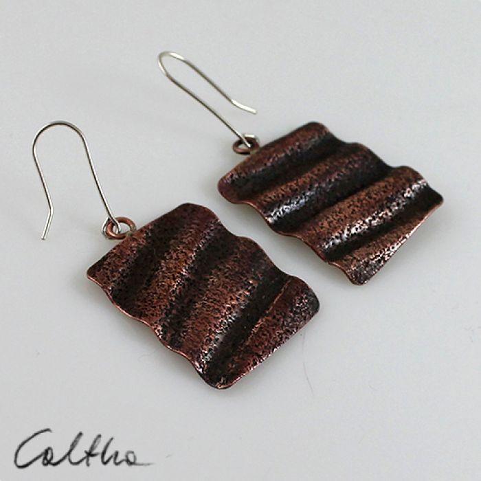 Falowane - miedziane kolczyki 131019-01