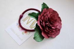 Gumka do włosów róża marsala
