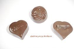 Broszka czekoladka modelina fimo 2 wzory